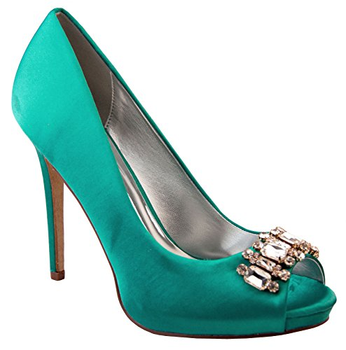 Mujer Sabatine Satén diamante racimo nupcial boda zapatos Teal