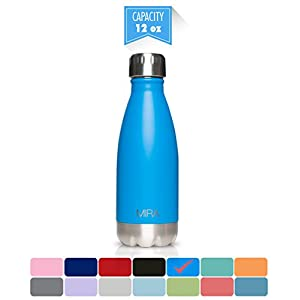 MIRA Stainless Steel Vacuum Insulated Water Bottle | Leak-proof Double Walled Cola Shape Bottle | Keeps Drinks Cold for 24 hours & Hot for 12 hours (True Blue, 12 oz (350 ml, 0.37 qt))