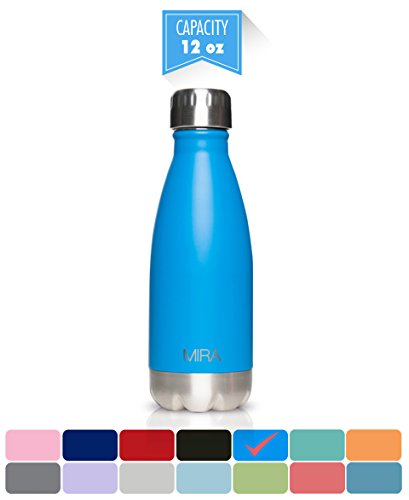 MIRA Stainless Steel Vacuum Insulated Water Bottle | Leak-proof Double Walled Cola Shape Bottle | Keeps Drinks Cold for 24 hours & Hot for 12 hours (True Blue, 12 oz (350 ml, 0.37 (Shape Straw)