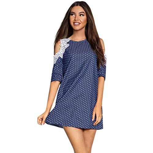 Women Half Sleeve One Shoulder Lace Dots Dress Ladies Casual Mini Dress(S,Blue) ()