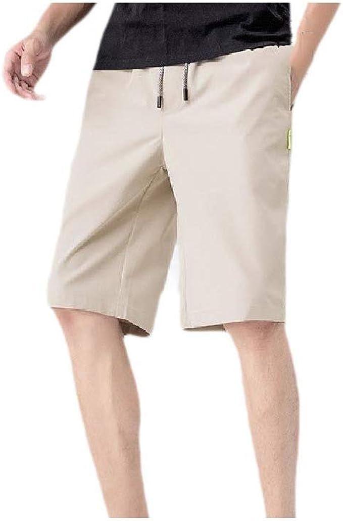 VITryst メンズ ソリッド 弾性 ウエスト ポケット ドローストリング レギュラー フィット 薄短いパンツ