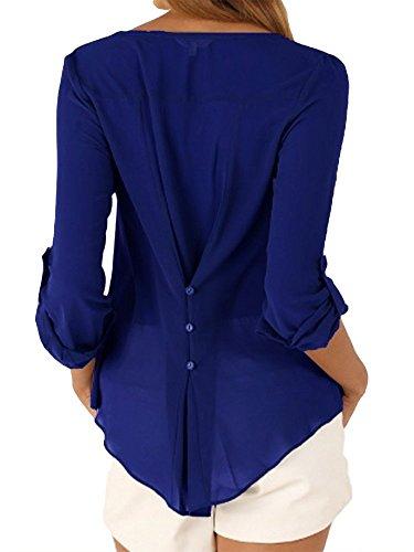 Camicia Estiva Shirt Casual Tops Donna e Bluse Maglie Camicie Chiffon Lunga Manica Scollo Eleganti T Buse con V Camicetta z68qSx
