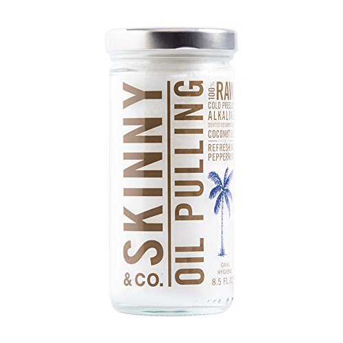 Skinny and Co. 100% Raw Oil Pulling Peppermint Coconut Oil for Healthier Teeth and Gums (8.5 (Peppermint Coconut Oil)