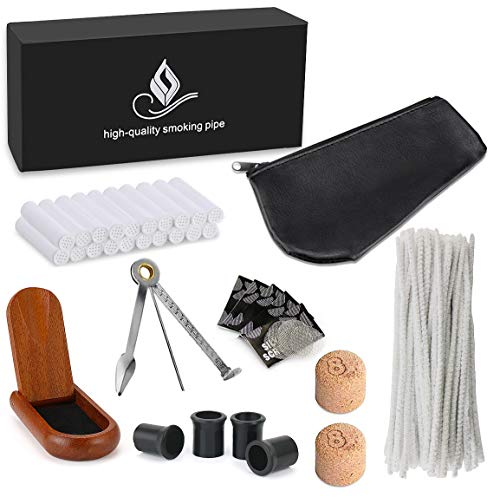 (Joyoldelf Smoking Pipe Accessories with Leather Pipe Bag, Wooden Stand Holder, 3-in-1 Pipe Scraper, 50 Pipe Cleaners & 20 Pipe Filters, 4 Pipe Bits and Other Tobacco Pipe Tools, Bonus a Gift Box)