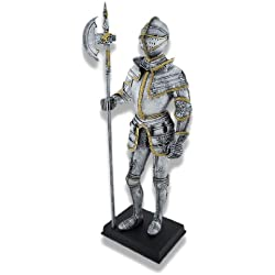 Veronese Resin Statues Medieval Knight Full Armor With Poleaxe Statue 4 X 11.25 X 2.75 Inches Silver