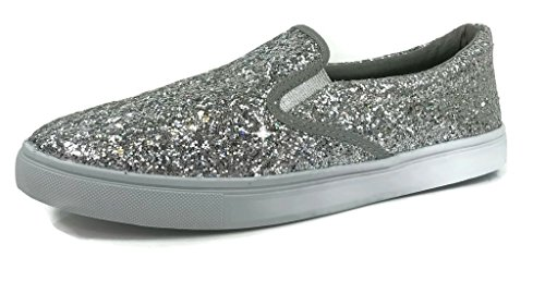 Silver Soda On Womens Glitter Closed Slip Sneakers Toe nAUSfq