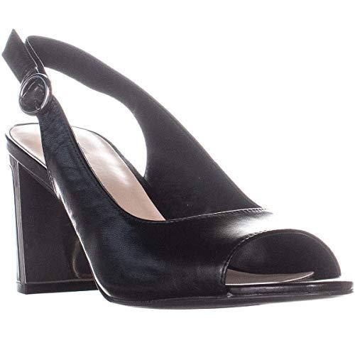 Alfani A35 Florraa Block Heel Sling Back Peep Toe Sandals, Black, 9.5 US