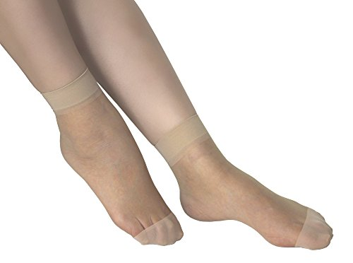Lanko 5-pairs Ankle High Hosiery Cores Spandex Filament Sheer Stretch Socks (Nude)