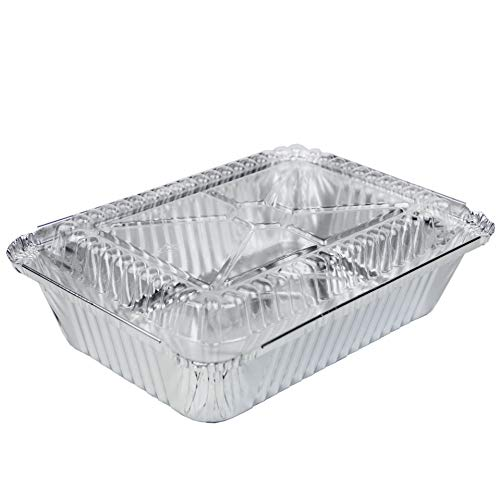 - [50 Pack] Rectangular Disposable Aluminum Foil Pan Take Out Food Containers with Clear Plastic Dome Lids, Steam Table Baking Pans, 32 oz, 2.25 lb, Quart