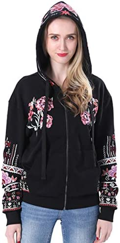 zeyubird Womens Bohemian Floral Zip Up Hooded Sweatshirt Jacket Long Sleeve Tops Embroidered Tops for Women Hoodies