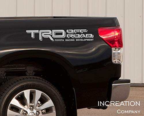 INCreation Company Toyota Tundra Tacoma Truck Body Side Bed Decal, x2 Silver Vinyl Stickers TRD Off Road 4x4, Custom auto Graphics, Racing Development Factory Style Design