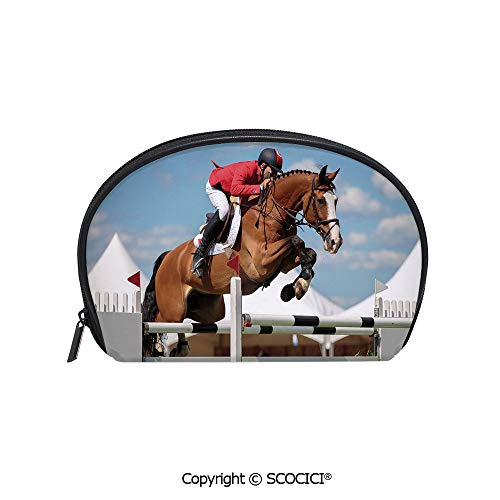 SCOCICI Women Small Portable Cosmetic Bag Storage Bag Jumping Horse and Sportsman Race Competition Performance Success Winning Event Mini Storage Bag for Daily Travel ()