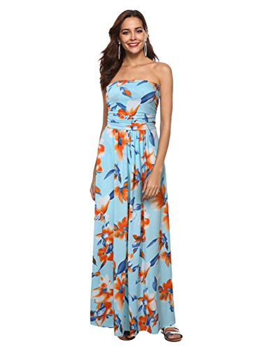 Liebeye Women Floral Sleeveless Empire Waist Strapless Beach Maxi Dress Sky Blue L from GloryStar