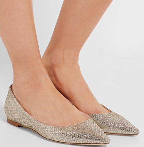 TDA Toe Gold Flat Pointed Comfort Glitter Leisure Women's Shoes gS4nrgv