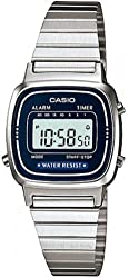 Casio Women's LA670WA-2 Silver Stainless-Steel Quartz Watch with Digital Dial