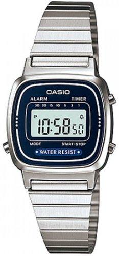 Casio Women's LA670WA-2 Silver Stainless-Steel Quartz Watch with Digital Dial, Black
