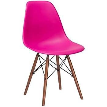 Poly And Bark Vortex Side Chair Walnut Legs, Fuchsia