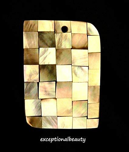 Black Lip Shell Iridescent Inlay Mosaic Resin Bead Drop Rectangle Focal Pendant