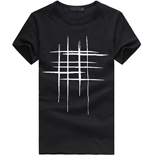 Maglietta Maglione shirt Stretch Camicia Manica T Homebaby® Estiva Corte Casual Particolari Sportivi Corta Uomo Cotone Tumblr Elegante Stampa Nero Vintage Magliette BqwggAt