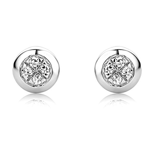 Boucles d'Oreille - SA9003E - Femme - Or Blanc 375/1000 (9 Cts) 0.6 Gr - Diamant