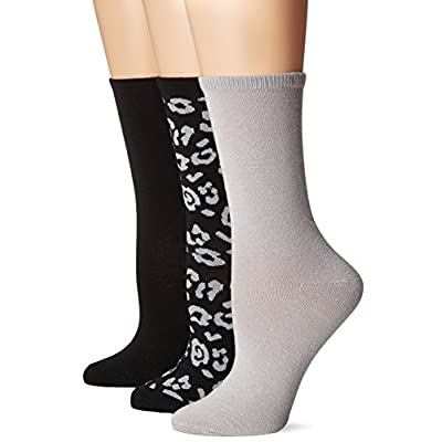 No Nonsense Women's Flat Knit Crew Sock, 3 Pair Pack, Assorted 1, 4-10 at Women's Clothing store