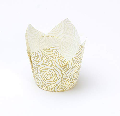 Valentine's Day Gold Rose Tulip Baking Cups, Muffin and Cupcake for Celebration, Pack of 24 ()