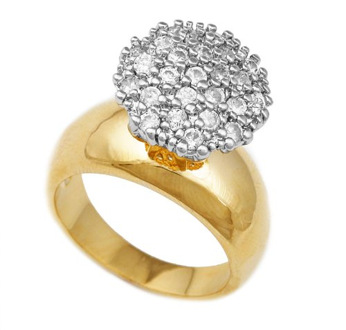 - JOTW Ladies Goldtone 15mm CZ Round Cluster Engagement Ring Sizes 5-10 (6) (D-934-6