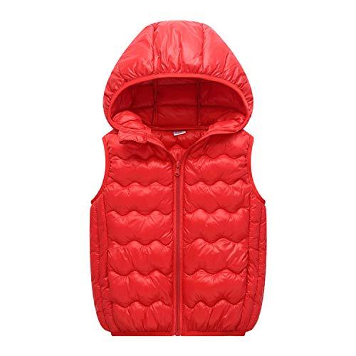 Jacket Newmarket (Children Waistcoat Boys Girls Hooded Vest Coat Baby Cotton Padded Kids Vest Sleeveless Jackets Coats Red)