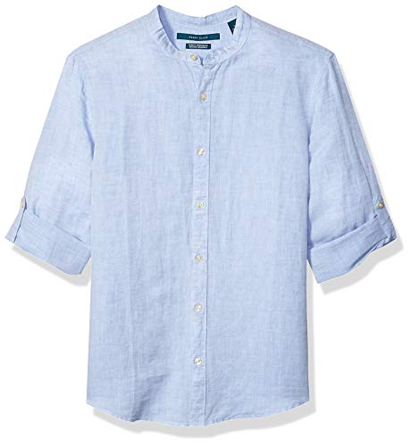 Perry Ellis Men's Solid Linen Cotton Rolled Sleeve Banded Collar Shirt, Colony Blue-4ESW7067, Large