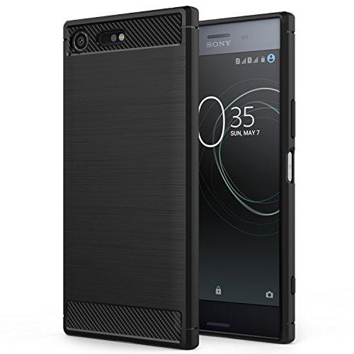 MoKo Sony Xperia XZ Premium Case, Flexible TPU Bumper Slim Fit Case Carbon Fiber Design Lightweight Shockproof Back Cover for Sony Xperia XZ Premium 5.5 Inch (2017), Black