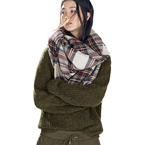 Dora Bridal Lady Women Blanket Oversized Tartan Scarf Wrap Shawl Plaid Cozy Checked Pashmina (One Size, Brown)