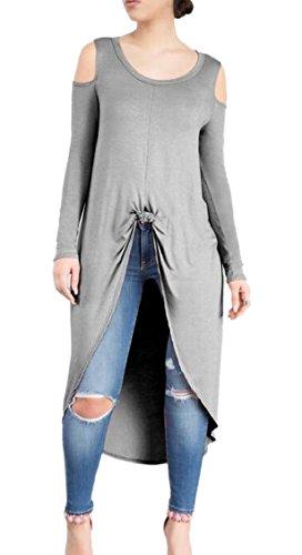 Jaycargogo Élégante Épaule Solide De Séparation Mince Gris Robe Longue Des Femmes