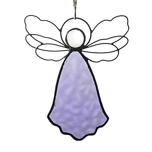 J Devlin ORN 303-3 Stained Glass Purple Angel Ornament Window Sun Catcher Display Holiday Home Decor Christmas Tree - Glass Stained Ornament Angel