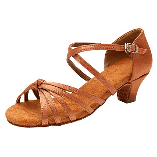 (Tantisy ♣↭♣ Girls Latin Dance Shoes  Fashion Dancing Ballroom Tango Shoes Single Shoes Buckle Sandals for Big Kids Brown)