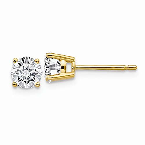 14K Yellow Goldy 3/4ct. 4.5mm Round Moissanite 4-Prong Basket Post Earring ()