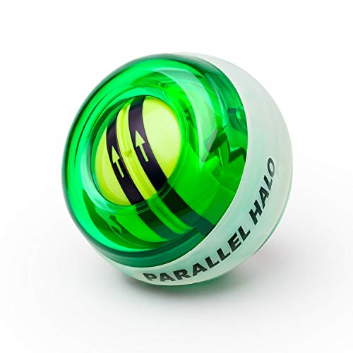 Parallel Halo Power Wrist Ball AUTO Start Wrist Exercises Force Ball Gyroscope Ball- Wrist& Forearm Exerciser - Arm Strengthener for Stronger Muscle and Bones (Green Without LED) ...