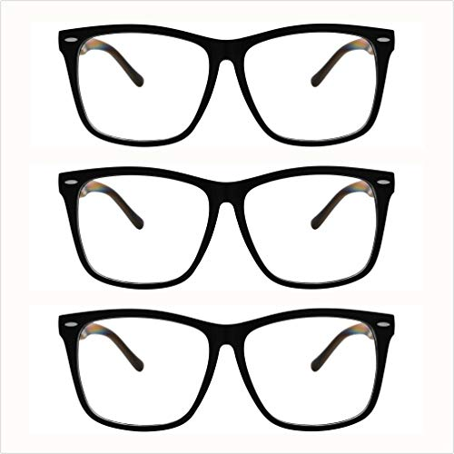 5zero1 Fake Big Frame Clear Non Prescription Glasses For Women Men Fashion Classic Retro Costumes Party Halloween, Matte Black 3pc -