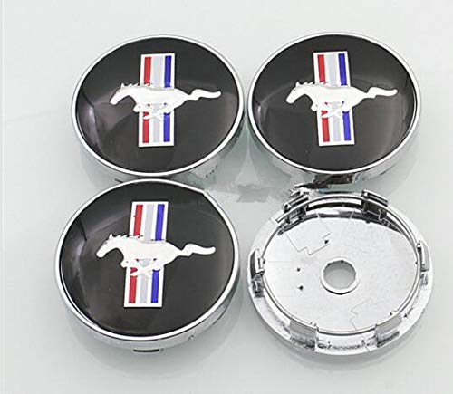 JXHDKJ 4pcs W199 60mm Car Emblem Badge Wheel Hub Caps Centre Cover Black for Ford Mustang