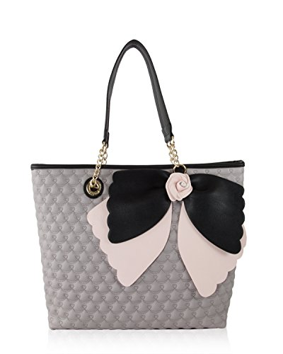 Betsey Johnson Scallop Bow Rose East West Tote With Pouch Shoulder Bag -  Grey Multi 8e99a8dd434d7