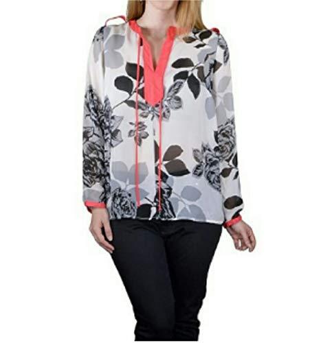 SAPPHIRE SILHOUETTE Women Sheer Top Plus Size 1X Multi Floral Y-Neck Long Sleeves Tab Shoulders