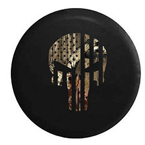 Pike Camo - American Flag Vertical Tactical Military Punisher Skull RV Spare Tire Cover OEM Vinyl Black 33 in