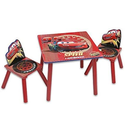 Amazon.com : 3 Pcs Disney Cars Wooden Table & Chairs Set : Childrens ...