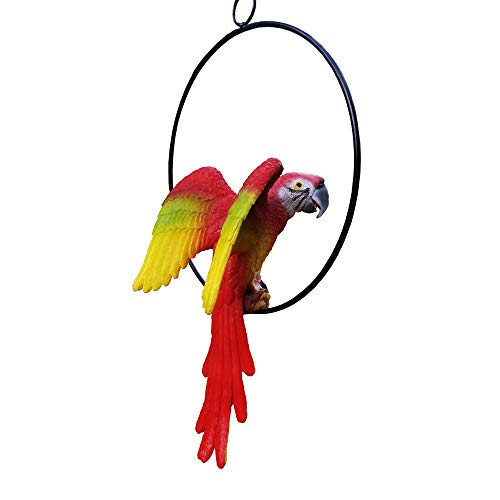 S&F Life Size Hanging Parrot Statue Like a Real Parrot Patio Lawn Ideal Decor Nature Lovers Tropical Bird Collectors (Wings)