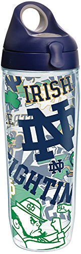 Tervis 1277388 Notre Dame Fighting Irish All Over Tumbler with Wrap and Navy with Gray Lid 24oz Water Bottle, Clear (Liquid Dame)