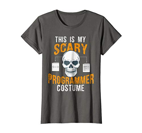 Womens Funny Scary Programmer costume Tee shirt for Halloween 2017 Small Asphalt