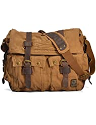 Nasis Men Casual Leather Canvas Shoulder Bookbag Hiking Satchel Messenger Handbag Bag (Coffee) bag13