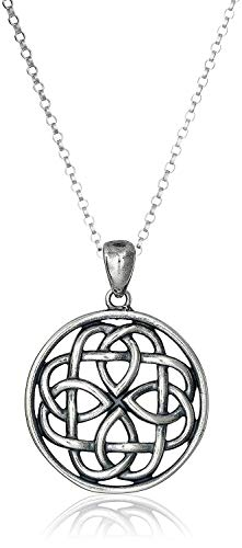 Oxidized 925 Sterling Silver Celtic Knot Medallion Pendant Necklace With 18