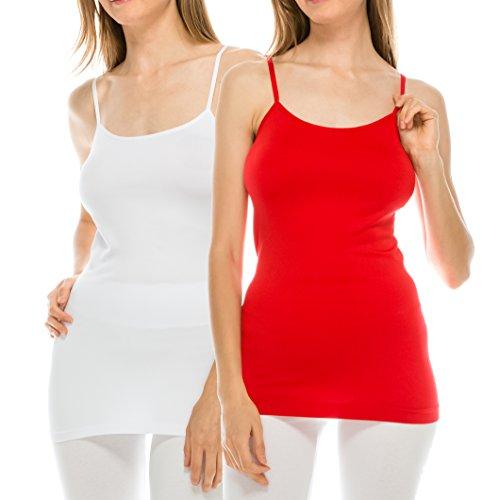 EttelLut Adjustable Spaghetti Strap Seamless cami Tank Basic Womans Tank Tops Pack White Red M
