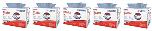 Wypall X90 Extended Use Wipers (12891), Reusable Wipes BRAG BOX, Blue Denim, 1 Box / Case, 136 Sheets / Box (5-(136 Sheets / (Metro Denim)