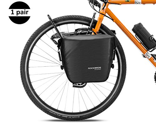 ROCK BROS Front Roller Panniers Bag Front Rack Bike Bag Durable Shelf Package with Carrying Handle & Free Shoulder Strap for Touring Picnic Commuting 1 Pair